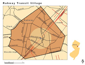 Rahway, NJ Transit Village Area (Shaded Circle)