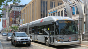 Outbound Greater Cleveland Regional Transit Authority Healthline rapid transit bus 2912. Image by Roger DuPuis.