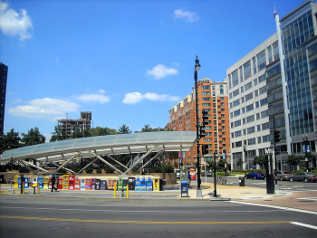 The New Jersey Avenue entrance to the Navy Yard-Ballpark Metro station. Image by user AgnosticPreachersKid, licensed by CC BY-SA 3.0
