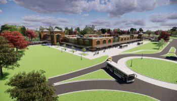 An artistic rendering for the transit center at the former Evraz Steel Mill site in Claymont, DE. Courtesy of Commercial Development Company, Inc.