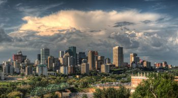 The City of Edmonton skyline in Alberta Canada. Image by user WinterE229, licensed by CC0 1.0