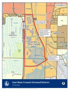 The East Main Transit-Oriented District map. Courtesy of The City of Bellevue, WA