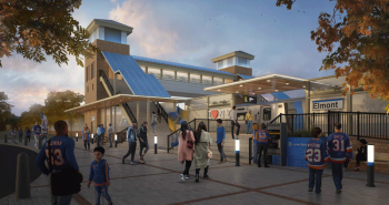A rendering for the new LIRR Station at Belmont Park. Courtesy of Gov. Andrew Cuomo's Office