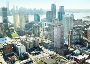 A rendering of 184 Morgan Street into the Jersey City skyline. Courtesy of Marchetto Higgins Stieve