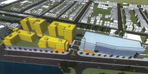 A rendering showing the massing of a proposed mixed-use development proposed. Courtesy of NJ TRANSIT
