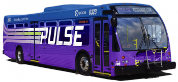 A rendering for the new Pulse Line bus. Courtesy of Pace Suburban Bus.