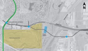 Proposed Calgary Airport Line route to connect with the future Green Line. (City of Calgary)
