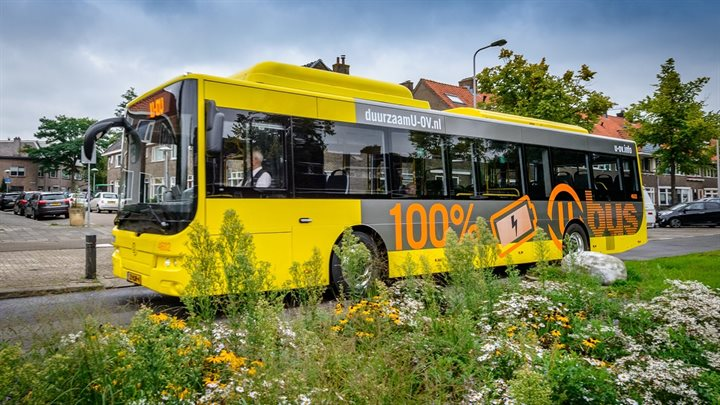 One of Utrecht's electric buses. Utrecht Township, The Netherlands
