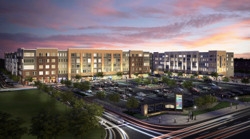 A rendering of the Wesmont Station project in Wood-Ridge. The project is developing the former site of the Curtiss-Wright manufacturing plant into a new train station and public plaza as the centerpiece of a 70-acre Traditional Neighborhood Design development. Courtesy of Somerset Development.