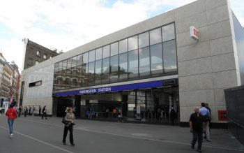London's Farringdon Station entrance. Image by user Sunil060902, licensed by CC BY-SA 3.0.
