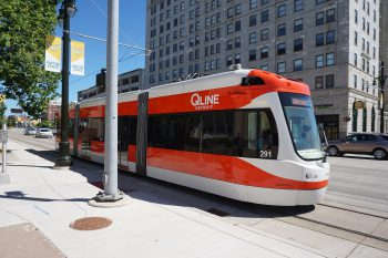 A QLine streetcar in Detroit, Michigan. Image by user Michael Barera, licensed by CC BY-SA 4.0.