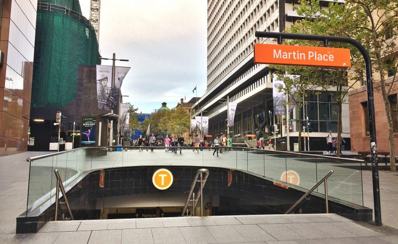 The entrance from Elizabeth Street to the Martin Place railway station. Image by Philip Terry Graham, licensed by CC BY 2.0.