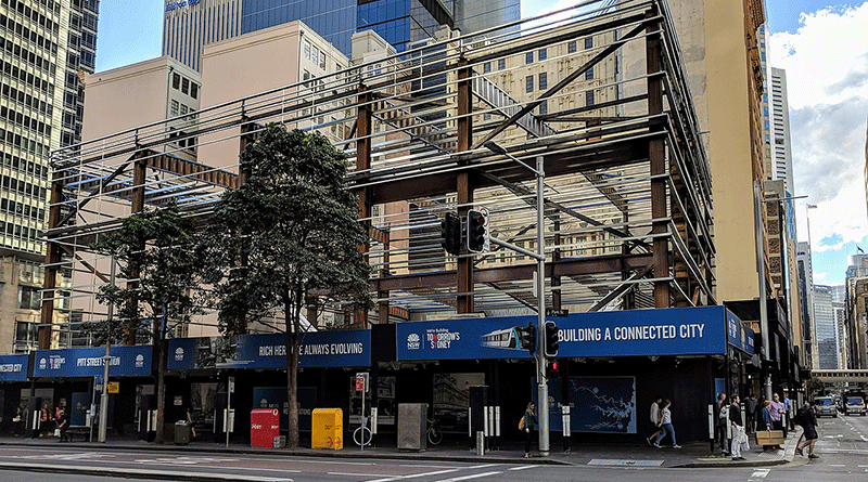 The above ground structure at Pitt Street railway station under construction in July 2018. Image by user Nick-D , licensed under CC BY-SA 3.0.