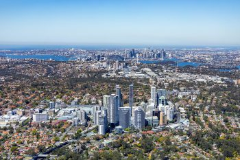 An aerial view of Chatswood. Image by user Mark Merton, licensed by CC BY-SA 4.0.