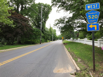The view west along Branch Avenue between Bennett Lane & Fox Hill Drive in Little Silver, which will be included in the project. The intersection is a quarter-mile from Madison Ave and a little over a mile from Sycamore Ave. Image by user Famartin, licensed under CC BY-SA 4.0.