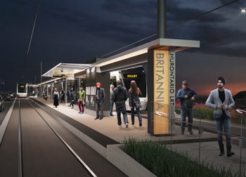Artistic rendering of the Hurontario LRT at the Britanna station. Image courtesy of Infrastructure Ontario.
