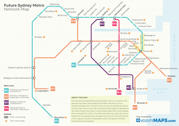 The future Sydney Metro Network Map showing potential Sydney Metro network lines. Map image courtesy of VoomMAPS.