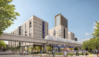 Rendering of buildings planned for 500 Kirkland, proximate to BART. Image courtesy of Panoramic Interests.