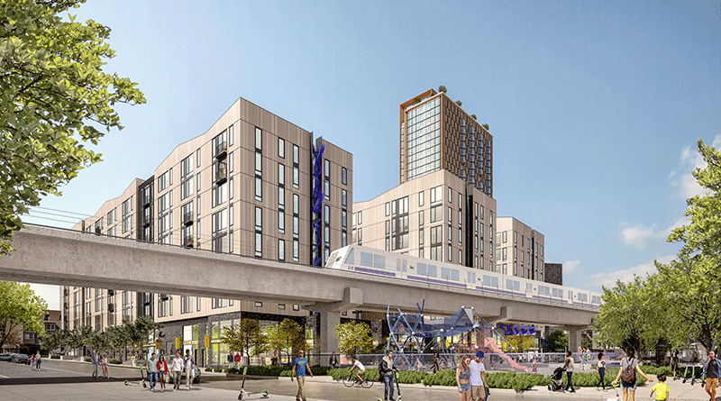 Rendering of buildings planned for 500 Kirkland in proximate to BART. Image courtesy of Panoramic Interests.