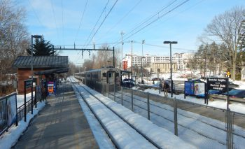 A westbound train departing from Montclair Heights Station on NJ Transit's Montclair-Boonton Line. Image by user Adam Moss, licensed by CC BY-SA 2.0.