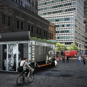 Rendering of an Oonee Pod, similar to the one placed in Journal Square, Jersey City. Image courtesy of the Oonee Company.