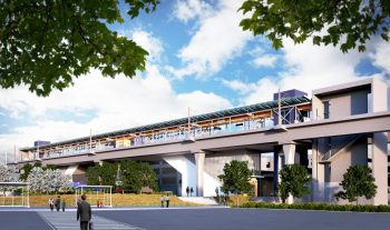 A rendering of the light rail extension link, Lynnwood Station. Image courtesy of Sound Transit.