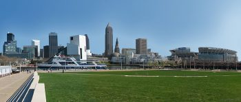 A panoramic view of Downtown Cleveland as seen in 2006. Image by user Jasonrene, licensed under CC BY-SA 3.0.