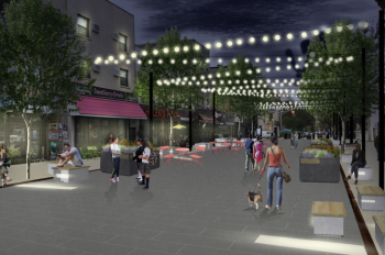 An artistic rendering of the view towards Jersey Avenue as seen from the Newark Avenue Pedestrian Plaza. Image courtesy of The City of Jersey City and Maser Consulting.