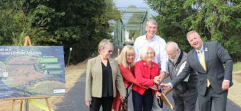 Participating in the ribbon-cutting ceremony to launch the opening of the Duke Farms Connector Trail at Raritan River Greenway are pictured from left to right: Hillsborough Township Committeewoman Olivia Holmes; county Park Commission Deputy Director Cynthia Sullivan; Raritan Borough Mayor Charles McMullin; Somerset County Freeholder Deputy Director Patricia L. Walsh; Duke Farms Executive Director Michael Catania; and Somerset County Freeholder Brian G. Gallagher.