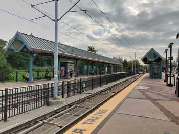 "The ""Liberty State Park"" Hudson-Bergen Light Rail Station in Jersey City, New Jersey, USA. The photographer is facing south on the northern side of the station."