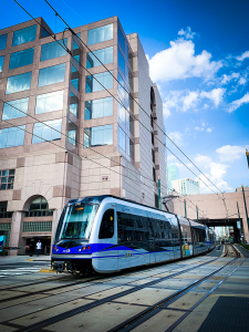 he uptown tram North Carolina by Frankie Lopez on Unsplash. Available on the public domain.