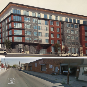 Rendering (top) and Google Streetview (bottom) of 90 Avenue E, Bayonne.