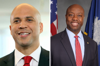 Senators Cory Booker (D-NJ) and Tim Scott (R-SC), co-sponsors of the Opportunity Zone legislation.