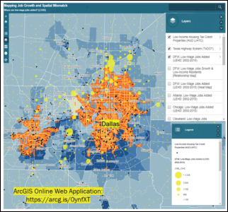 Job growth and Spatial Mismatch, Dallas, Texas. Analysis and mapping by Reza Sardari.