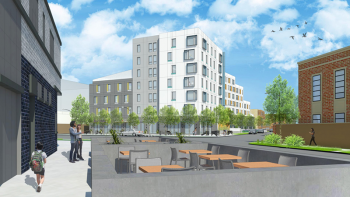 Affordable housing complex planned for 2602-2638 N. Emmett St, Chicago, Illinois. Courtesy of Bickerdike Redevelopment Corporation.