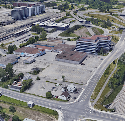The five-acre redevelopment site sits adjacent to Ottawa's main train station and just east of downtown, via Google Street View.