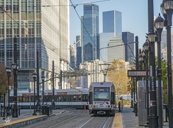Hudson-Bergen Light Rail traveling through Jersey City, New Jersey. Photo courtesy of Christopher Henchey.