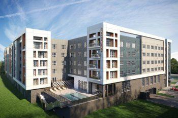 51 Washington Square, to be built adjacent to Conshohocken Station, near Philadelphia. Courtesy of LCOR.