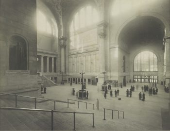 Old Penn Station waiting room. Sourced from the Library of Congress, photo is in the public domain.