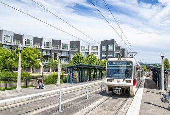 TriMet rail in Portland, OR, a city that scored straight A's on all Reconnecting America's indicators. Photo courtesy of Christopher Henchey.