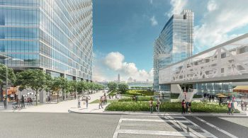 Pedestrian plaza. Rendering by FX Fowle.