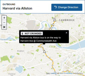 A screenshot crowding info from the MBTA website (Route 66).
