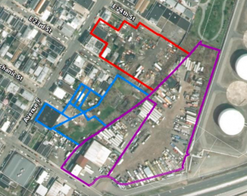 An aerial view of the site of Avenue G and the transit village. Red is the Parkview redevelopment, Blue is the Dante Construction redevelopment, and Purple is the Ken's Marine redevelopment.
