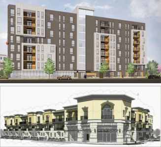 Polaris Apartments (top). Joe DeCredico Studio. Eighty-Eight Homes in Milpitas (bottom). Eighty-Eight Homes.