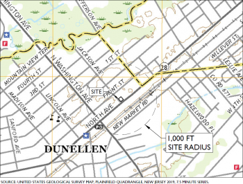 Location of proposed project in Dunellen, New Jersey. Source: Site Plan, Communipaw Associates.
