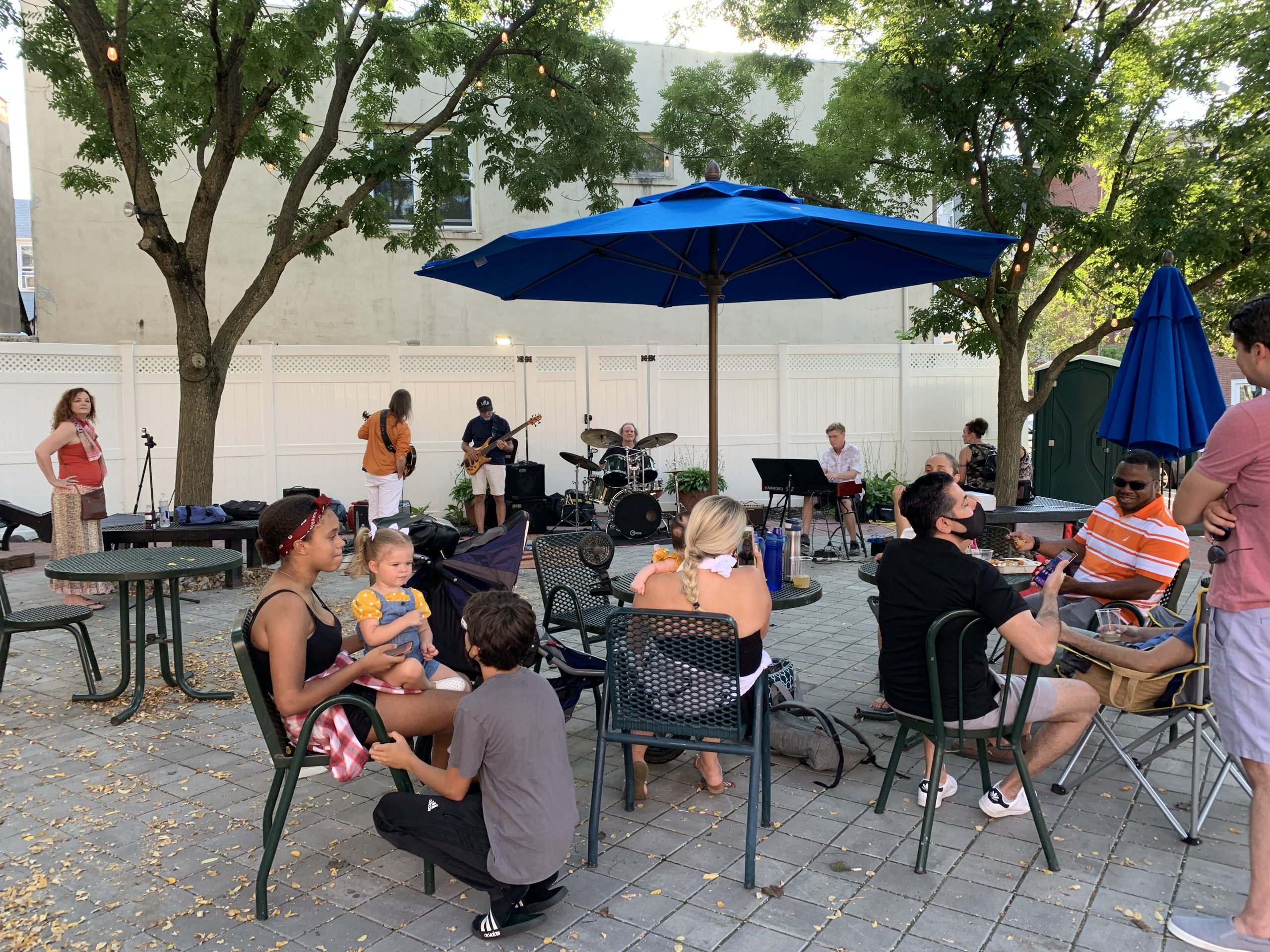 New and long-time residents are discovering and rediscovering Rahway's public spaces, such as the Rahway District Arts Park, amid social distancing measures. Image credit: The RA+BP