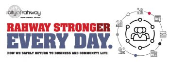 "The City of Rahway worked with local design company, Wizdom Media, to create the ""Rahway Stronger Every Day"" branding. Image credit: The RA+BP"