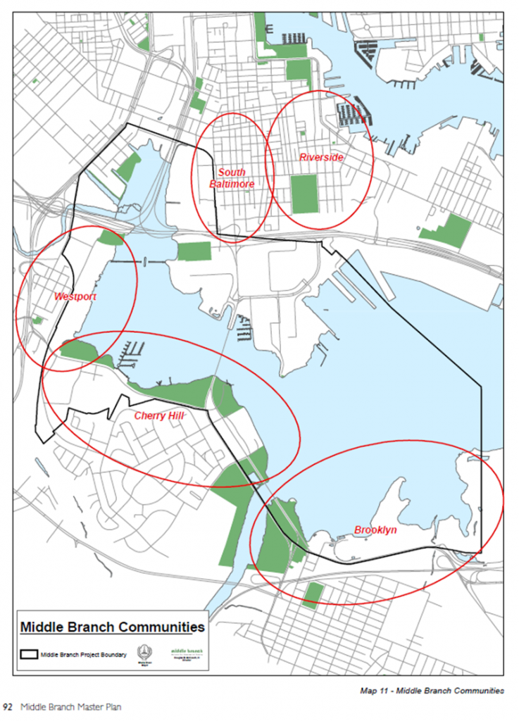 Middle Branch Communities, Baltimore, Maryland. Source: Middle Branch Master Plan (2007)