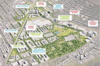 Plans for the Exhibition Lands on the former Northlands site call for two higher-density transit villages with residential and commercial uses. (City of Edmonton) City of Edmonton, supplied