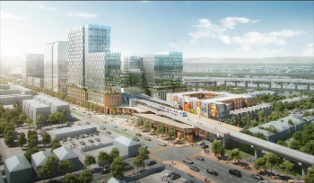 Rendering of Mandela Station, to be built at the West Oakland BART Station. Courtesy of Alan Dones